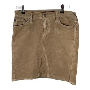 AG Corduroy Mid-Box Skirt Tan Size 28